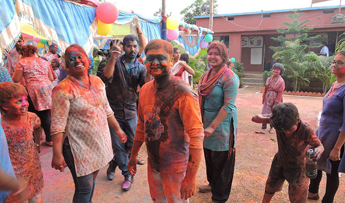Celebration of festival of colors at Annapurna Finance Pvt Ltd